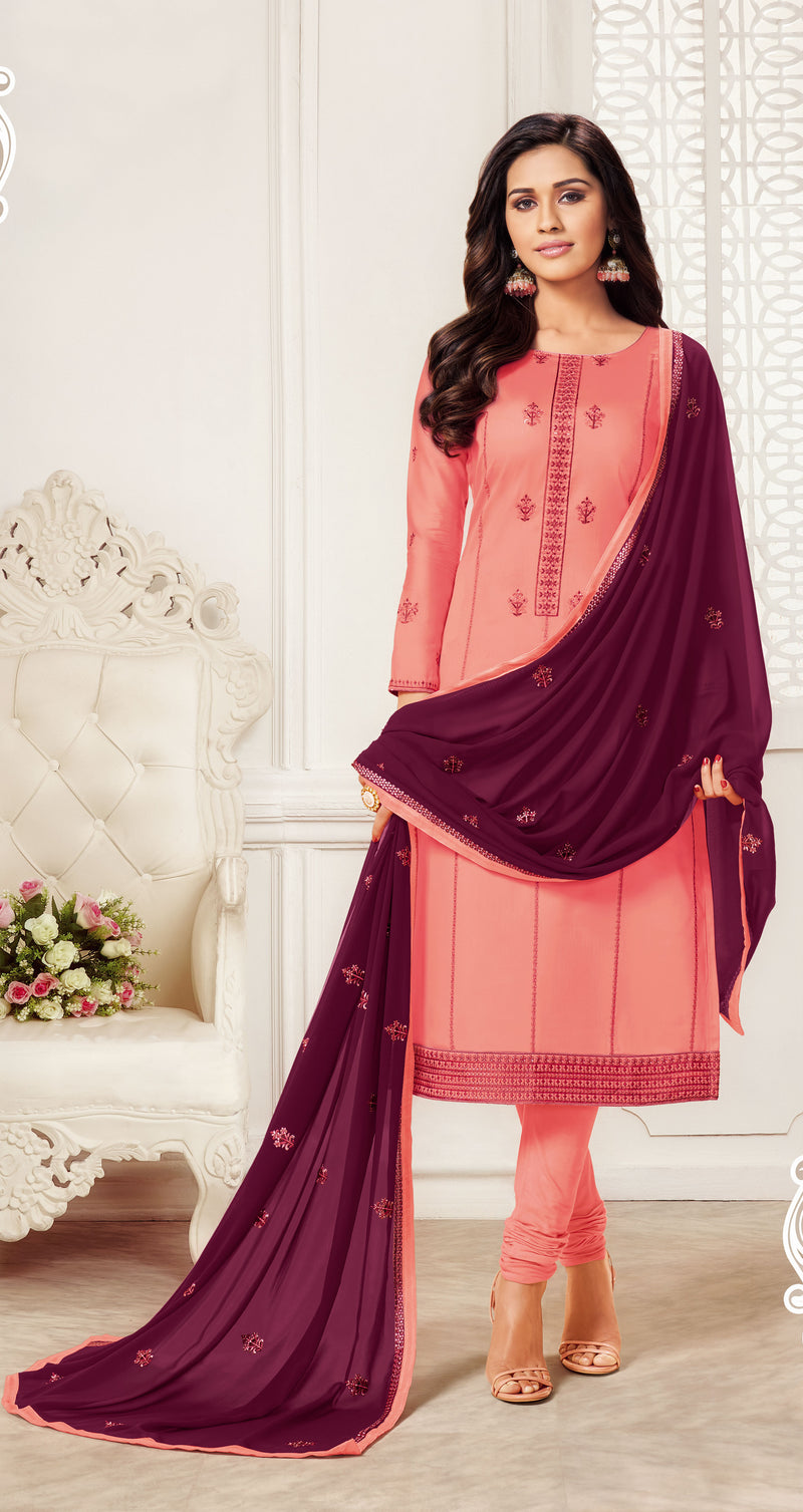 Peach Color Jam Silk Cotton Straight Cut Suit