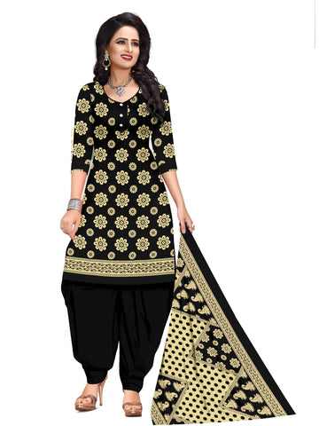 Black Cotton Printed Straight Cut Suit