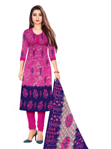 Pink Cotton Printed Straight Cut Suit