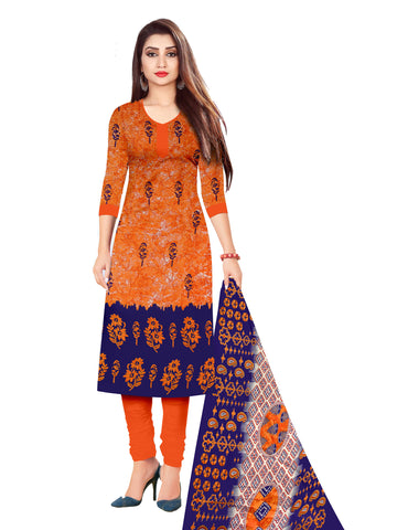 Orange Cotton Printed Straight Cut Suit