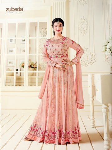 Designer Pink Color Embroidered Long Anarkali Suit