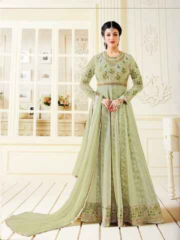 Designer Green Color Embroidered Long Anarkali Suit