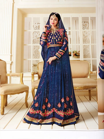 Designer Blue Color Embroidered Long Anarkali Suit