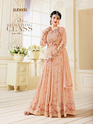 Designer Orange Color Embroidered Long Anarkali Suit