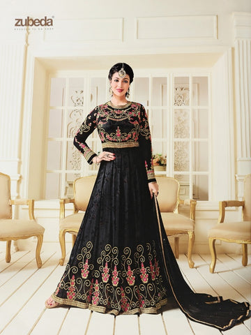 Designer Black Color Embroidered Long Anarkali Suit