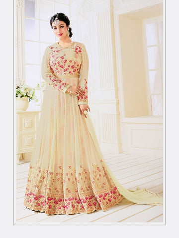 Designer Cream Color Embroidered Long Anarkali Suit