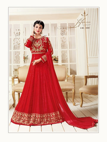Designer Red Color Embroidered Long Anarkali Suit
