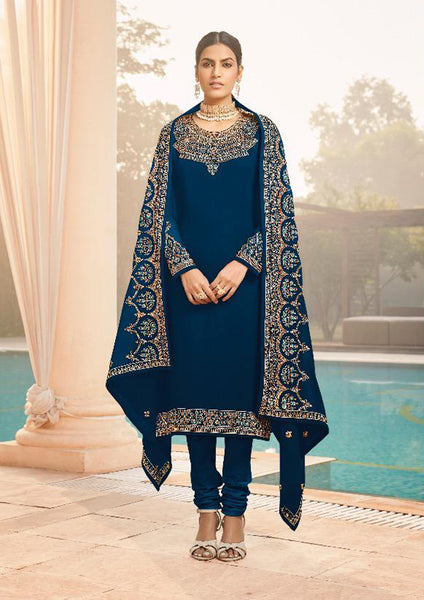 Blue Faux Georgette Embroidered Straight Cut Suit