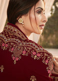 Maroon Faux Georgette Embroidered Straight Cut Suit