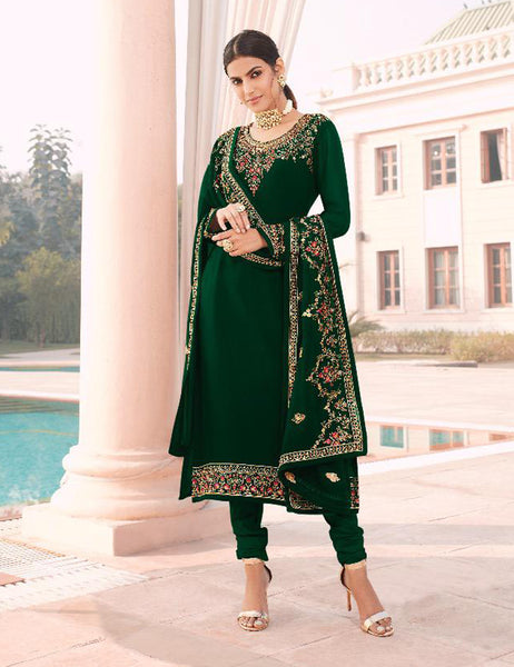 Green Faux Georgette Embroidered Straight Cut Suit