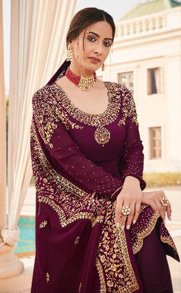 Dark Purple Faux Georgette Embroidered Straight Cut Suit