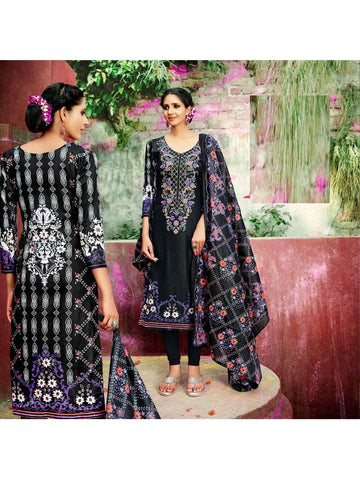 Beautiful Designer Black Color Cotton Suit