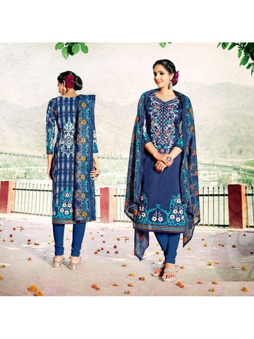 Beautiful Designer Blue Color Cotton Suit
