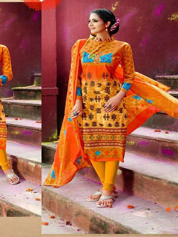 Beautiful Designer Orange Color Cotton Suit
