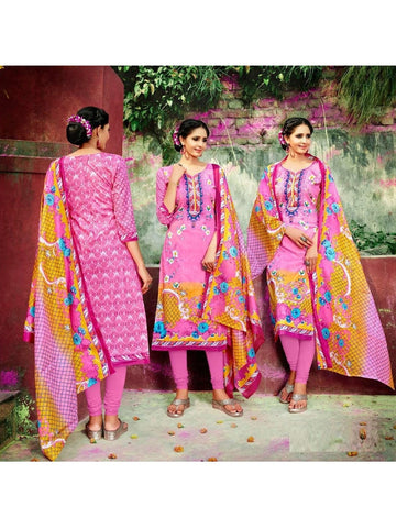 Beautiful Designer Pink Color Cotton Suit