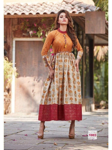 Beautiful Printed Orange Multi Color Cotton Kurtis