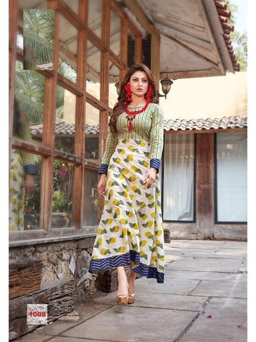 Beautiful Printed Green Multi Color Cotton Kurtis