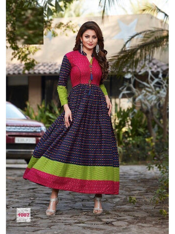 Beautiful Printed Pink & Blue Color Cotton Kurtis