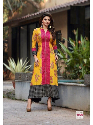 Beautiful Printed Yellow & Pink Color Cotton Kurtis