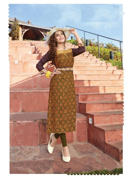 Designer Brown Color Rayon Cotton Long Straight Cut Kurti