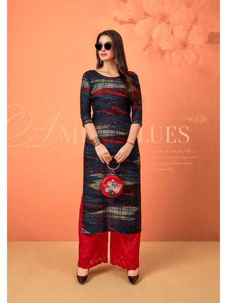 Beautiful Designer Printed Multi Color Rayon Straight Cut Kurti with Sifli Work Palazzo