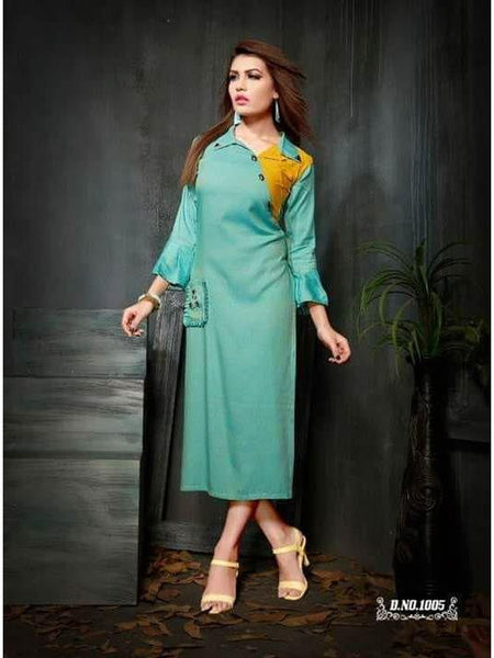Beautiful Designer Plain Rayon Slub Sea Green Color Long Kurti