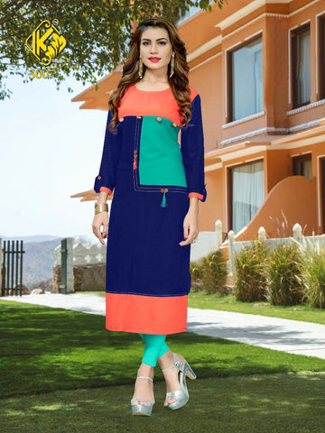 Designer Multi Color Rayon Printed Straight Cut Kurti