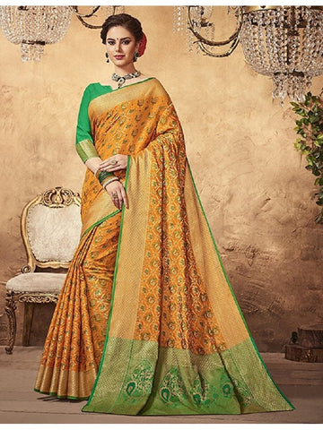 Beautiful Designer Banarasi Silk Multi Color Woven Saree with Multi Color Blouse