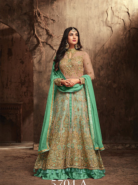 Beautiful Designer Heavy Net with Embroidered Green Color Work Anarkali Suit