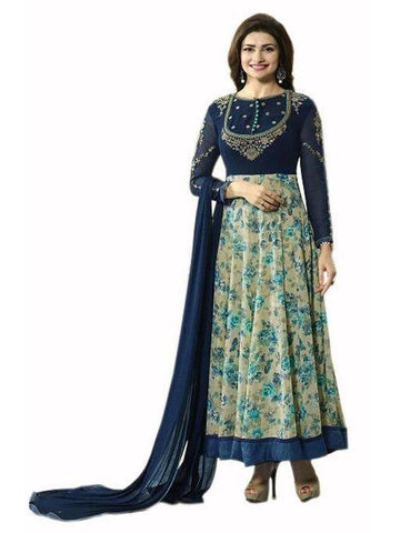 Pretty Stone Embroidered Georgette Suit in Dark Blue