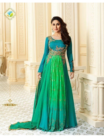 (XL Size) Exclusive designer Silk Suit in Shades of Green