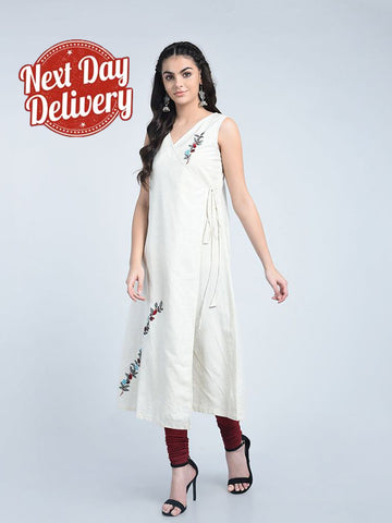 Designer Off White Color Cotton Embroidered Work Long Kurti