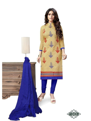 Designer Beige Color Chanderi Cotton Straight Cut Suit