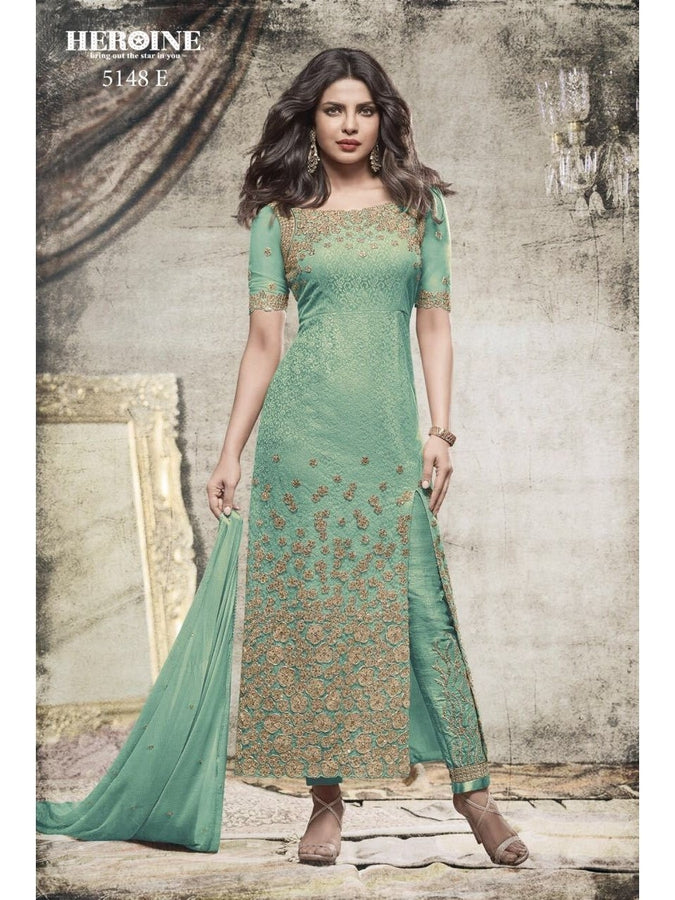 Priyanka Chopra Net Embroidered Fabulous Light Blue Color Suit