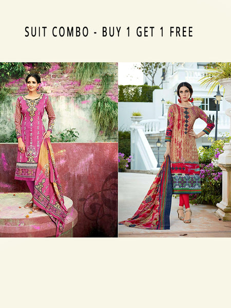 Beautiful Designer Multi Color Cotton Combo of Two Straight Cut Suits