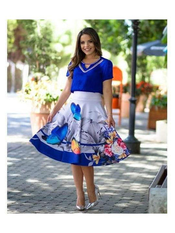 Beautiful Dark Blue Color Fancy Western Top & Skirt