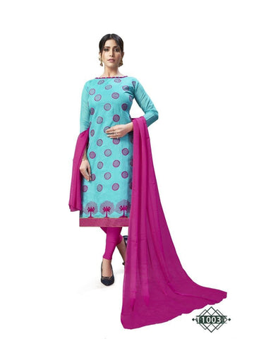 Designer Sky Blue Color Chanderi Cotton Straight Cut Suit
