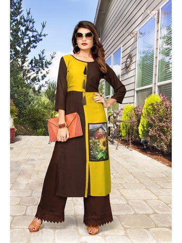 Digital Print Brown and Yellow Long Straight Kurti