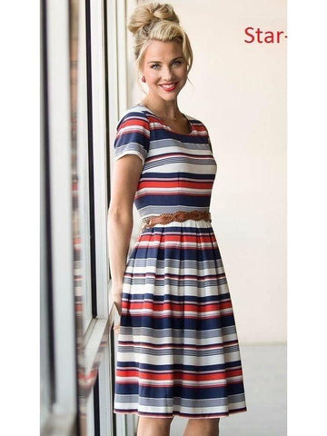 Strips Printed Empire Waist Dress with Real Images