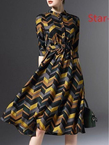 Multicolor Printed Frock Style Dress with Real Images