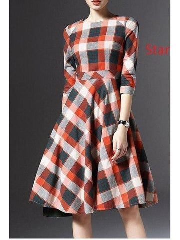 Red Color Check Printed Frock Style Dress with Real Images