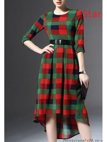 Square check Printed High Low Dress with Real Images