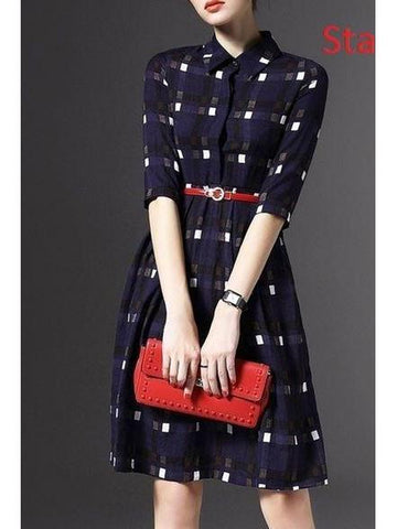 Mandarin Collar style Blue Color Dress with Real Images