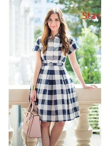 Mandarin Collar style White and Blue Check Dress with Real Images