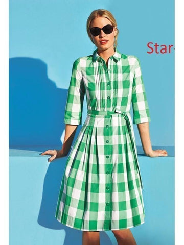 Mandarin Collar style White and Green Check Dress with Real Images