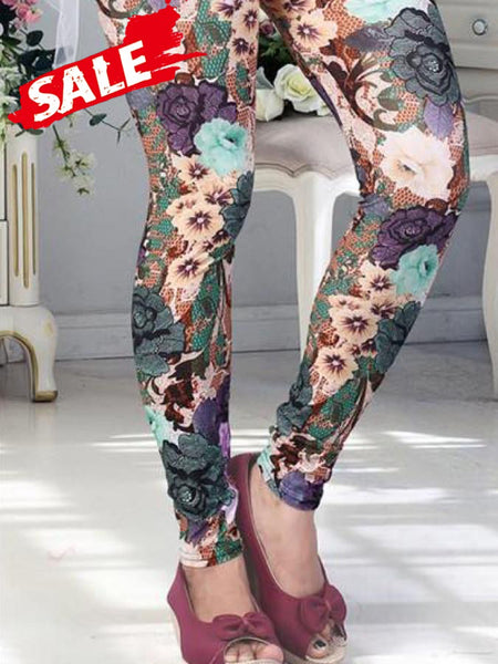 Flower Print Lycra Leggings