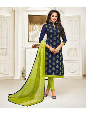 Designer Blue Color Embroidered Jacquard Straight Cut Suit