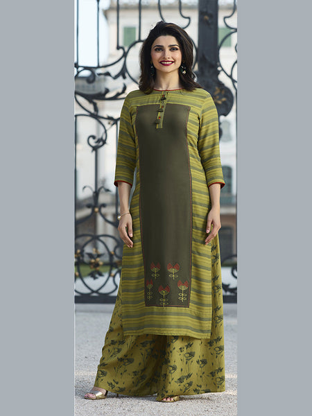 Designer Light Green & Olive Green Color Printed Kurti with Bottom