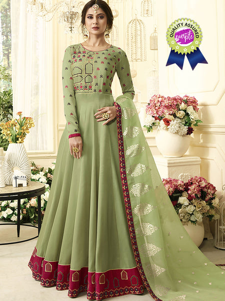 Designer Banglori Silk Zari & Embroidered Work Green Color Anarkali Suit