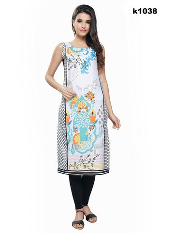 Beautiful Crepe Printed White Kurti
